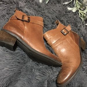 Aged Genuine Leather Booties